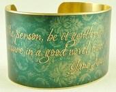 Brass Cuff - Jane Austen Literary Quote from Northanger Abbey - A Good Novel