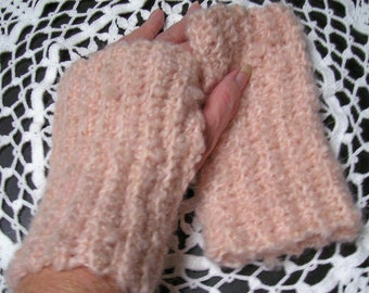 FREE SHIP - Crocheted set of Fingerless Gloves - Himalaya Blossom Yarn - Soft & Knobby - warm hands fingers free