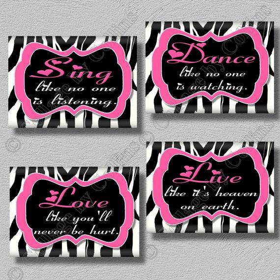 Pink Zebra Print Art Girls Room Wall Decor Dance Sing Live Love  Inspirational Motivational Quotes Words