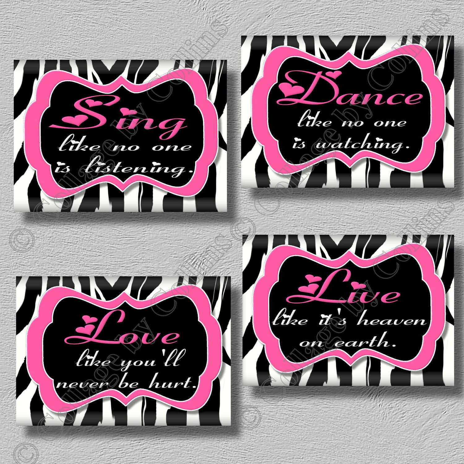 Pink zebra print art girls room wall decor dance sing live for Room decor zebra print