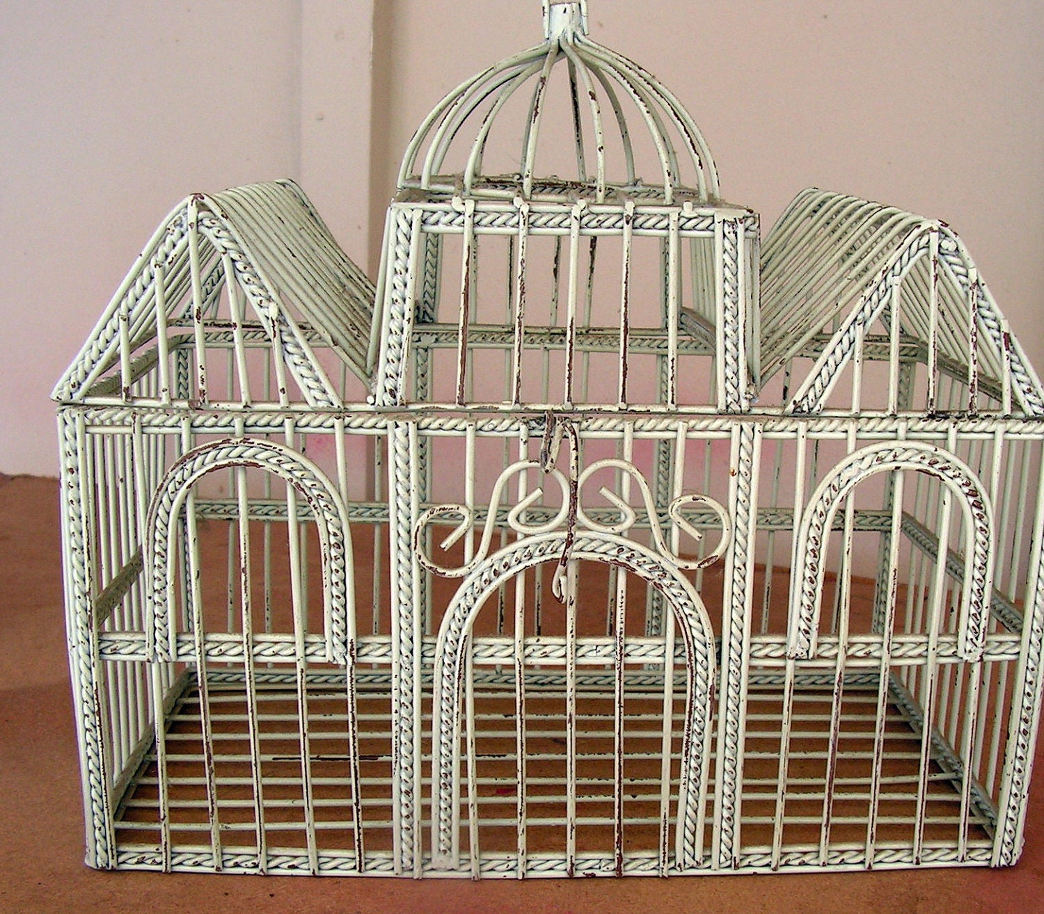 Vintage White Wire Bird Cage Decorative Shabby Chic Candle