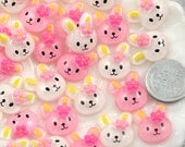 16mm Little White and Pink Bunny Resin Cabochons - 8 pc set