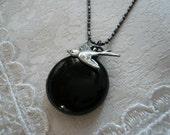 NIGHT FLY Bird & Black Locket Necklace