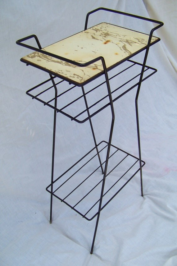 Mid Century Mod Black Metal Telephone Stand Shelf