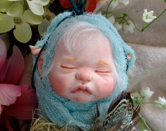 One of a kind Teal blue fairy/pixie baby