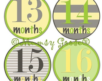 Second Year Baby Boy Age Stickers Baby Months Stickers Boy  Month Baby stickers Waterproof Great Photo Prop