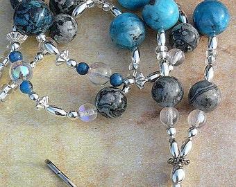 Denium Blue Lanyard, Lapis Badge Holder, Id Necklace