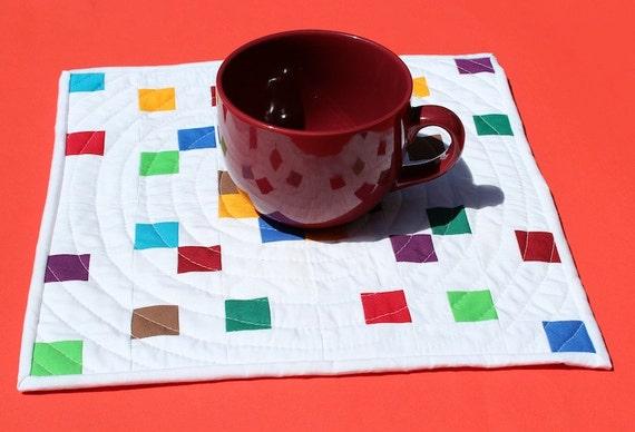 Pixelated Patchwork - Modern Patchwork Mini Quilt, Table Quilt, Mug Rug
