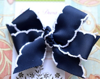 Navy Blue With White Crochet Edge Classic Diva Bow