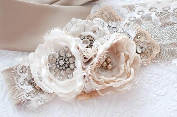 Bridal flower sash belt, taupe and ivory, vintage rhinestones and lace