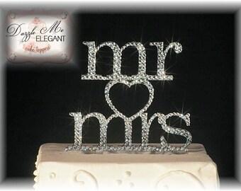 Wedding Cake Topper - Crystal Cake Topper - Personalized Cake Topper - Mr and Mrs - Mr and Mr - Mrs and Mrs - Bride and Groom