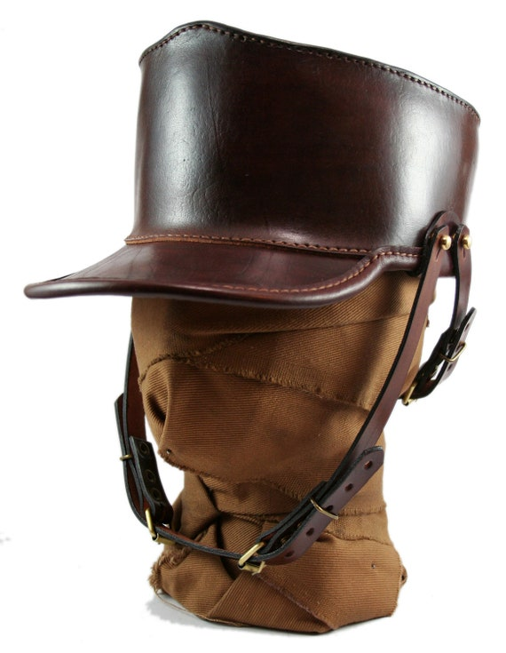 STEAMPUNK LEATHER SHAKO hat dark brown leather custom design