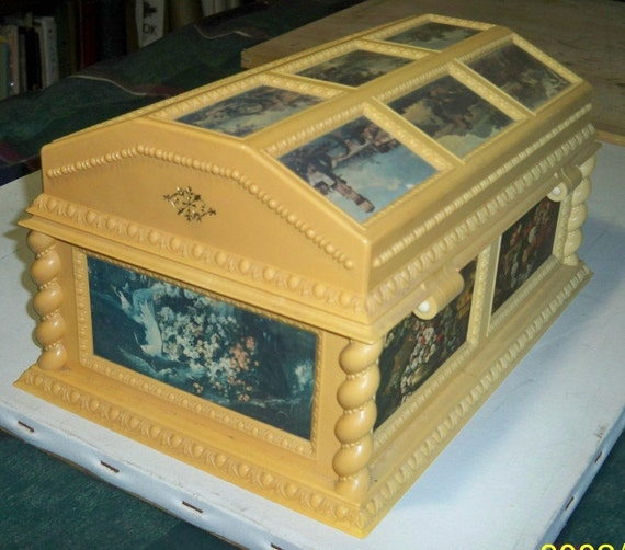 large vintage merle norman victorian style musical jewelry box
