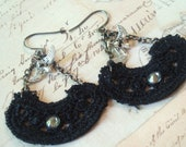 Black Doves - Bird Earrings, Lace Earrings, Gunmetal Earrings