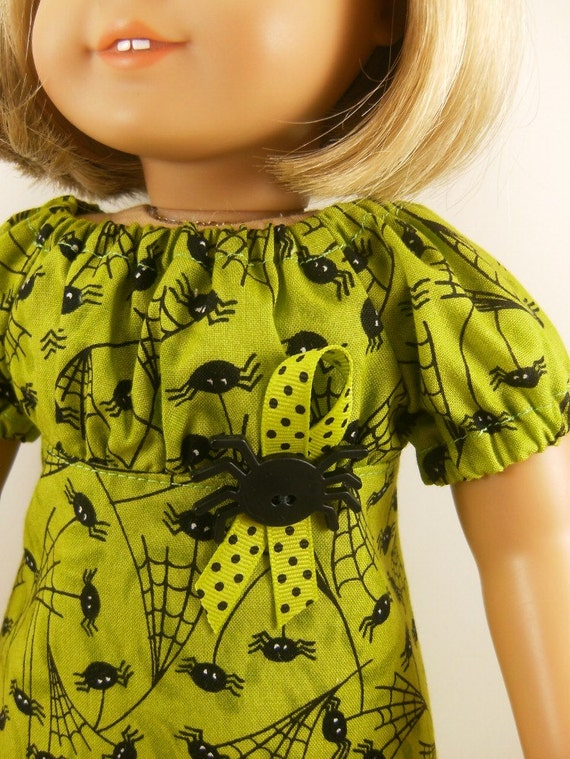 American Girl Doll Clothes  Peasant Dress Halloween Spider Print  Fits 18 Inch Dolls Girls Toys Matching Hair Bow