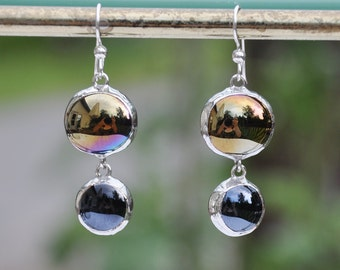 Black glass double drop earrings