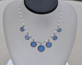 Powder blue glass circle chandelier necklace