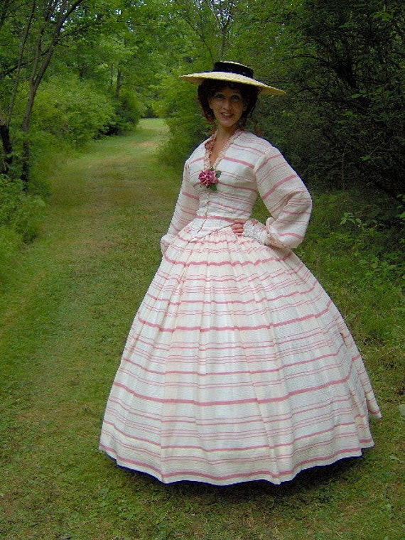 Victorian Costume Dresses & Skirts for Sale - 1800s Victorian Picnic Dress 1860s Civil War Summer Day Gown - Skirt Bodice  Reenacting Wedding $250.00 AT vintagedancer.com