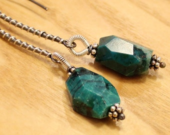 Chrysocolla faceted nuggets, silver wire wrapped ear wire earrings