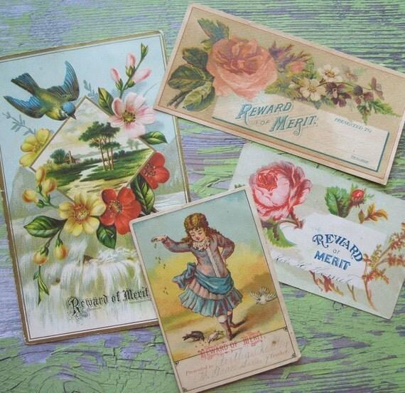 4 Antique Reward of Merit Cards Victorian