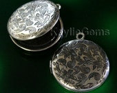 Round Locket Hand Touched Antique Silver Floral Victorian 26mm - LKRS-L26AS - 2pcs