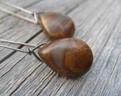 niobium earrings in jasper briolettes. modern briolette earrings. chocolate rust. splurge.
