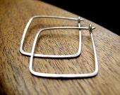 sterling silver hoops. square earrings. geometric jewelry.