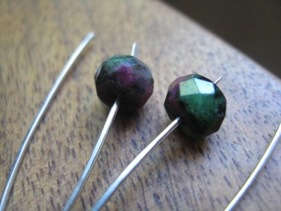 ruby earrings. sterling silver earrings. faceted ruby zoisite earrings. july birthstone. splurge.