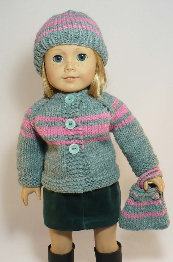 American Girl 18 Inch Doll Clothes Hand Knit Cardigan Sweater