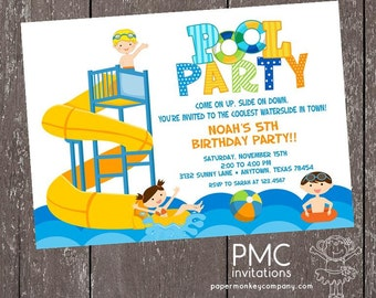 Water Slide Pool Party Birthday Invitation - 1.00 each with envelope