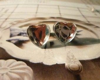 SALE - Mini Diamond Heart Stud Earrings