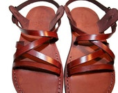 Brown Star Leather Sandals for Men & Women - Handmade Sandals, Leather Flats, Leather Flip Flops, Unisex Sandals, Brown Leather Sandals