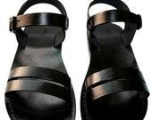 Black Hammer Leather Sandals for Men & Women