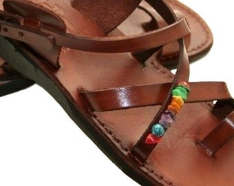 Brown Decor Roxy Leather Sandals for Men & Women - Handmade Sandals, Leather Flats, Leather Flip Flops, Brown Unisex Leather Sandals