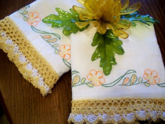 Hold for Christinia--Flowing Florals Pillow Cases, White, Handmade, Hand Embroidery, Crochet, Modern Vintage