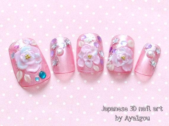 Japanese nail art bridal nail gel nail pink 3d nail rose like this item prinsesfo Choice Image