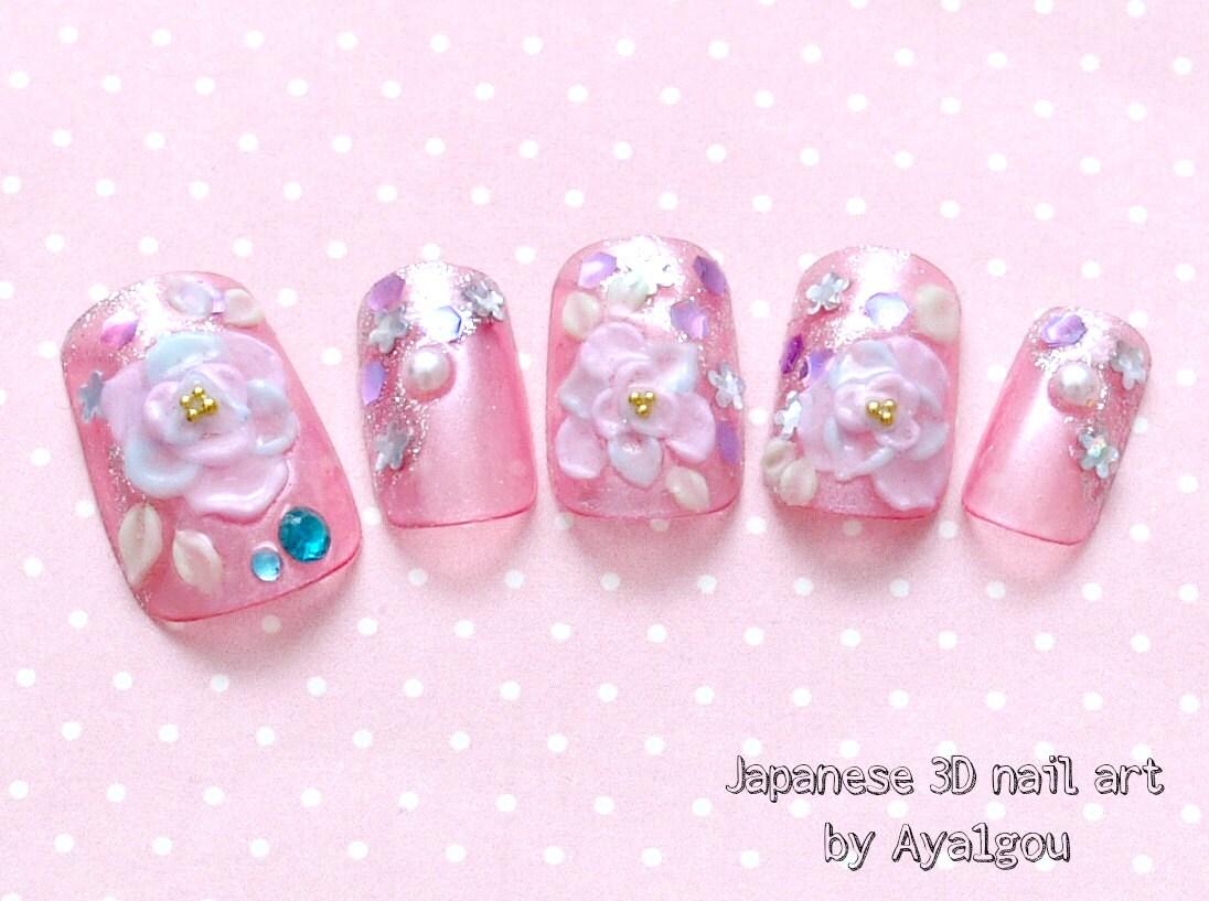 Japanese nail art bridal nail gel nail pink 3d nail rose zoom prinsesfo Image collections