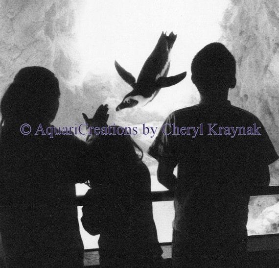 Penguin Aquarium Notecard with Kids - Black and White Photo - Blank Greeting