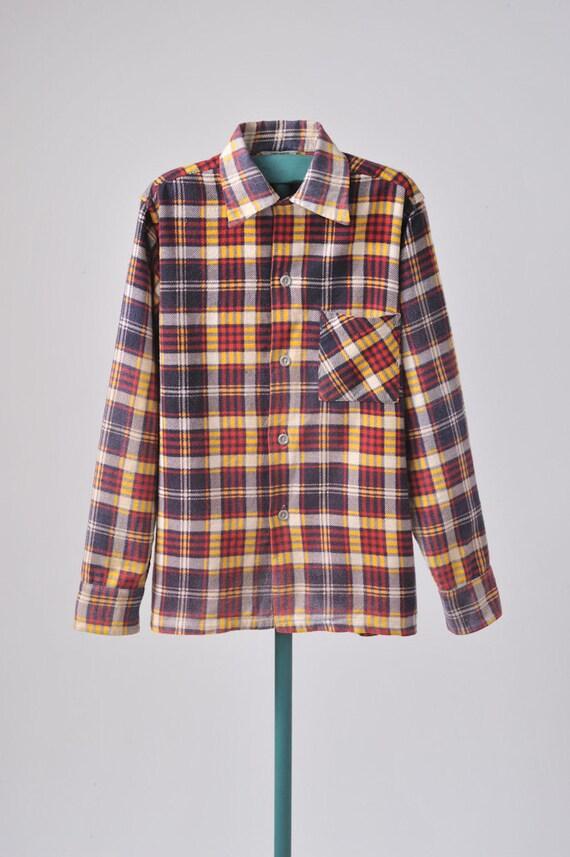 1950's Boys Plaid Flannel Shirt