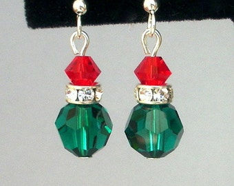 Small green and red crystal earrings, Christmas light earrings, Swarovski crystal, holiday lights