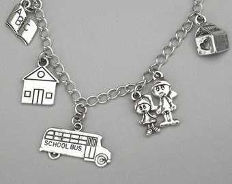 Teacher charm necklace, teacher necklace, school necklace, love to teach, best teacher gift, back to school gift, antiqued silver