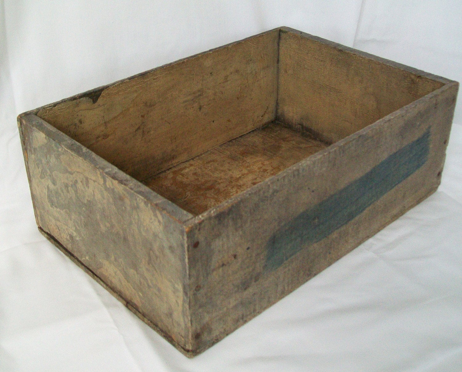 Primitive painted wooden crate blue gray sturdy by pinkpainter