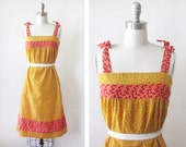 1970s sundress/ vintage 70s floral dress / yellow and red daisy calico sundress
