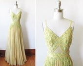 1930s dress / 30s maxi gown / yellow chiffon sequin beaded party evening dress / study piece / sold AS IS