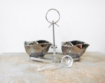 silver snack bowl set,  vintage silver ombre condiment caddy, mid century modern barware