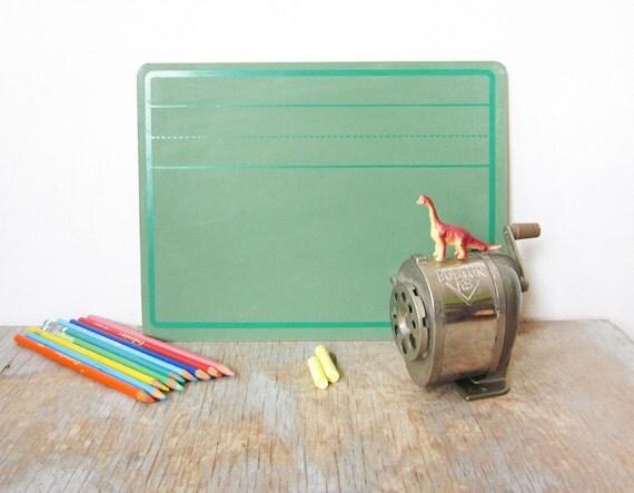vintage green chalkboard / slate writing board / back to school supplies