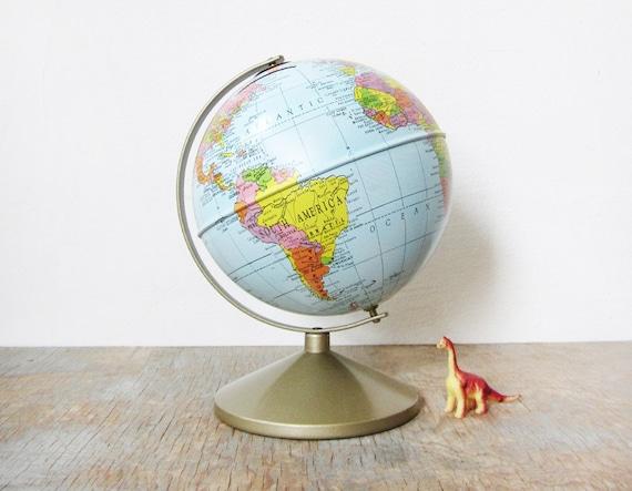 "vintage 9.5"" metal globe bank"