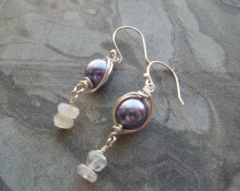 Lilac Glass Pearl & Moonstone Earrings
