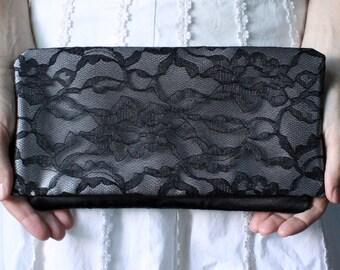 The LENA CLUTCH - Black Lace and Gunmetal Silver Satin Clutch - Wedding Clutch Purse - Bridesmaid Gift Idea