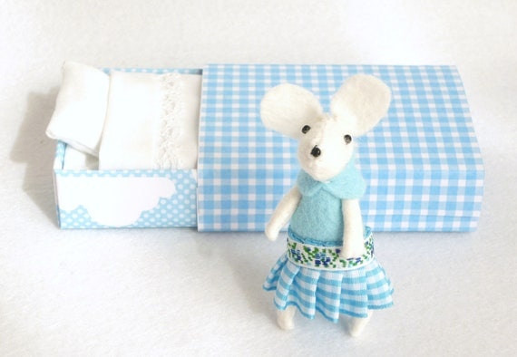 White mouse felt plush in matchbox bed gingham blue